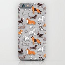 Origami doggie friends // grey linen texture background iPhone Case
