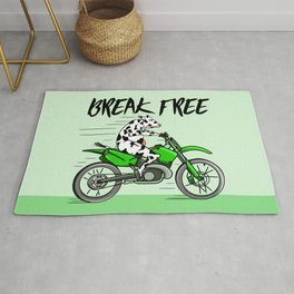 Cow riding a motorbike Rug