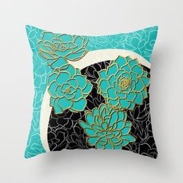 Golden Flowers on Luxury Blue Throw Pillow