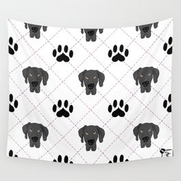 Black Great Dane Paw Print Pattern Wall Tapestry