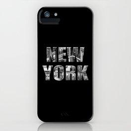 New York (black & white photo type on black) iPhone Case