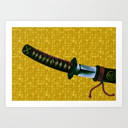 Japanese Sword on Gold-leaf Screen Art Print
