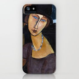 Amadeo Modigliani / Jeanne hebuterne with hat and necklace iPhone Case