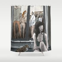 party Shower Curtains featuring Party by Sebastian Cabot