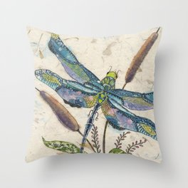 """""""""""Dragonflies and Cattails"""" Throw Pillow"""