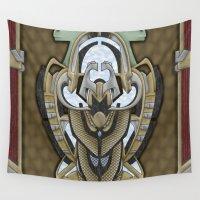 hawk Wall Tapestries featuring Claddagh Hawk by Ryan Livingston