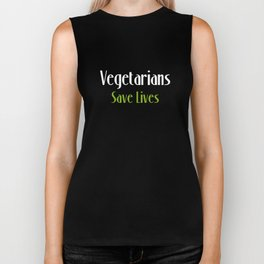 Vegetarians Save Lives Vegan Animal Lover T-Shirt Biker Tank