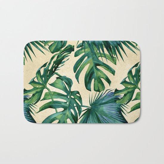 Tropical Island Republic Green on Linen Bath Mat