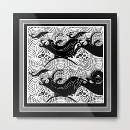 B&W Stormy Waters Graphic Metal Print