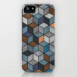 Colorful Concrete Cubes - Blue, Grey, Brown iPhone Case