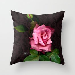 Pink Rose on Black Lace, Scanography Throw Pillow