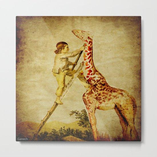 le petit garçon et la girafe  Metal Print