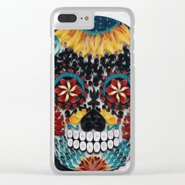 Colorful Sugar Skull Clear iPhone Case