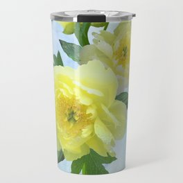 Yellow Peony Bouquet on Painted Sky Travel Mug