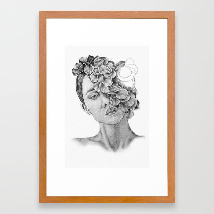 Art pencil drawing illustration portrait model flowers gift wall decor framed art print