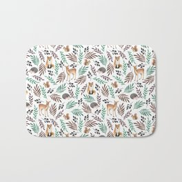Cute forest. Watercolor Bath Mat