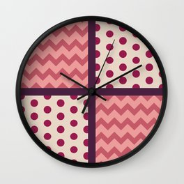 Multicolor Chevron/Polkadot 2 Pattern Spots Zigzag Purple Pink Mulberry Beige Wall Clock
