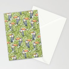 Watercolor Toucan Parrots And Jungle Leaves Pattern Stationery Cards