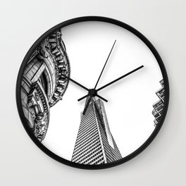 pyramid building and modern building and vintage style building at San Francisco, USA in black and w Wall Clock