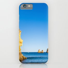 Turquoise waters and cliffs of Praia Dona Ana beach in Algarve, Portugal iPhone Case