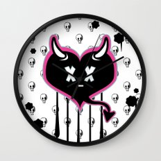 Evil Heart with Devil's Horns, Tail and Skulls Wall Clock