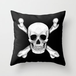 Jolly Roger - Deaths Head Pirate Skull Charge Throw Pillow