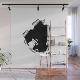 "Optical illusion ""Hole with monsters"" Wall Mural"