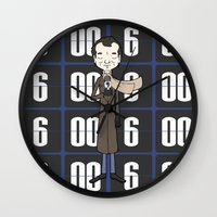 phil jones Wall Clocks featuring Phil by Derek Eads
