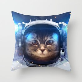 Beautiful cat in outer space Throw Pillow