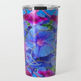 Purple & Pink Morning Glories Blue Pattern Art Travel Mug