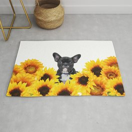 French Bulldog with sunflowers Rug
