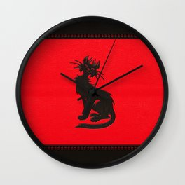 Tribal Black Cat Embossed on Faux Leather Wall Clock