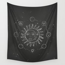 Moon, sun and elements Wall Tapestry