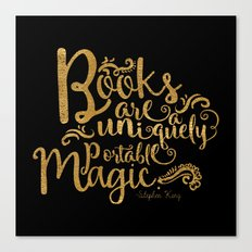 Books are a Uniquely Portable Magic Gold Canvas Print