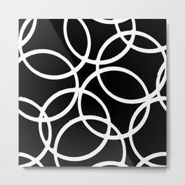 Interlocking White Circles Artistic Design Metal Print