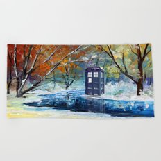 Starry Winter blue phone box Digital Art iPhone 4 4s 5 5c 6, pillow case, mugs and tshirt Beach Towel