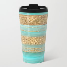 Turquoise Brown Faux Gold Glitter Stripes Pattern Travel Mug