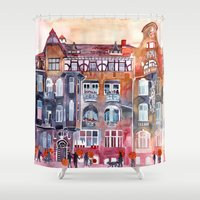 takmaj Shower Curtains featuring Apartment House in Poznan and orange umbrellas by takmaj