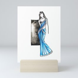 Saree Indian wear fashion illustration Mini Art Print