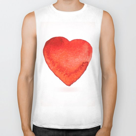 Watercolor heart Biker Tank