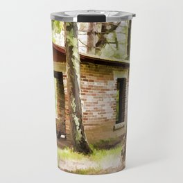 Abandoned brick building in the woods Travel Mug