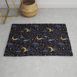 Celestial Stars and Moons in Gold and Dark Blue Rug