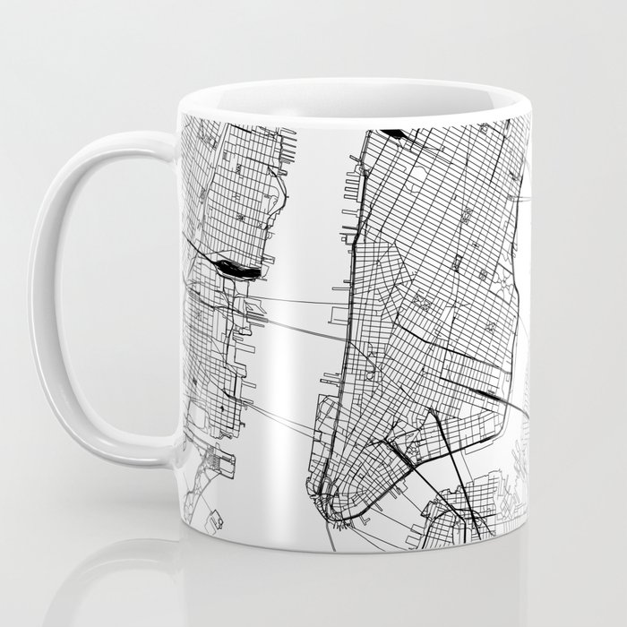 New York City White Map Kaffeebecher