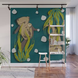 Significant otters teal Wall Mural