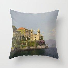 Villa at Lake Como Throw Pillow