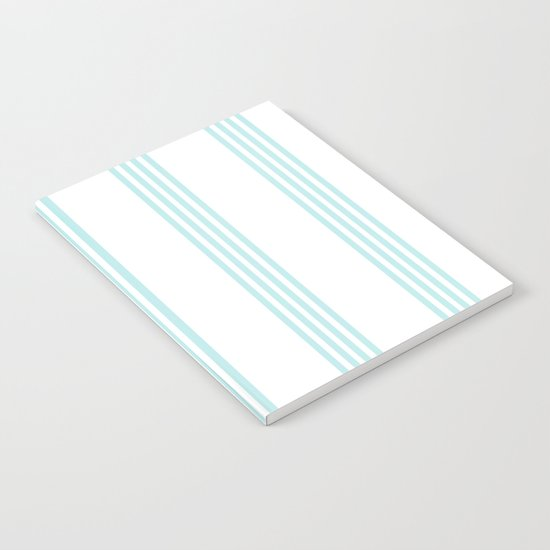 Striped I - Turquoise stripes on white- Beautiful summer pattern Notebook