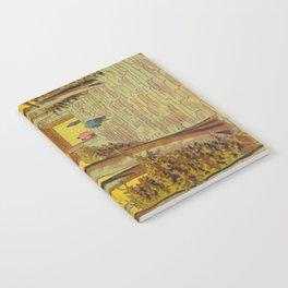 Asano Takeji Japanese Woodblock Print Vintage Mid Century Art Autumn Trees Shinto Shrine Notebook