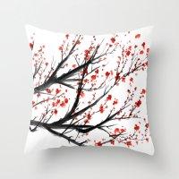 sakura Throw Pillows featuring Sakura by rchaem
