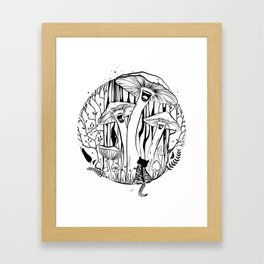 The Singing Mushrooms & The Zebra Cat Framed Art Print