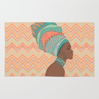 african Area & Throw Rugs featuring African Beauty  by Varvara Gorbash
